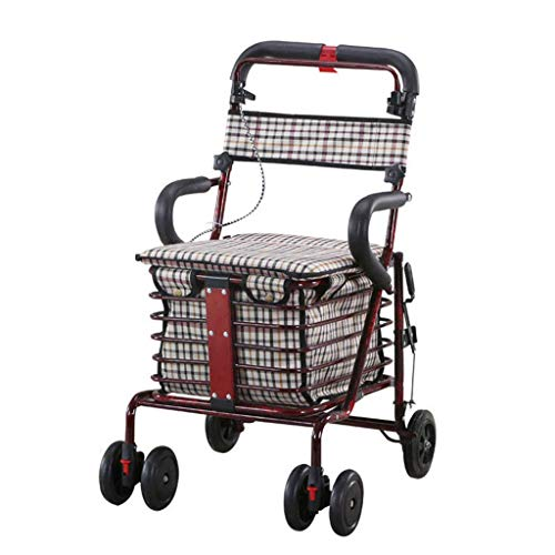 Walker,Folding Shopping Cart Trolley Elderly Helper Folding Wheelchair Six-wheeled Seat With A Grocery Shopping Cart,Walker For The Seniors 80 Kg Load