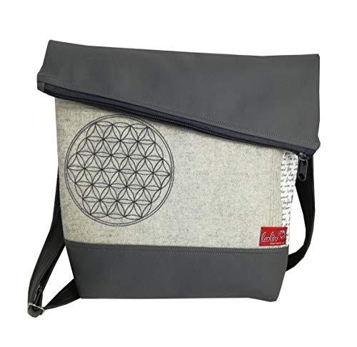 Foldover Tasche Blume des Lebens grau Kunstleder Stickerei handmade