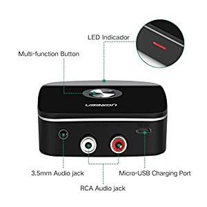 Bluetooth Receiver 4.1 Wireless Auido Music RCA Adapter for Home Car Music Streaming Sound with 3.5mm and 2RCA Compatible with iPhone X, 8, 8 Plus, iPad, Samsung S8 Plus, Note 8, Tablet, Laptop