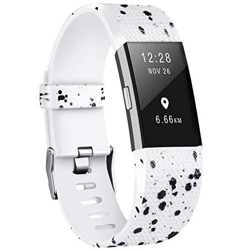 Yandu Correa de repuesto para Fitbit Charge 2, correas de reloj suaves y cómodas para Charge 2 (puntos negros, grandes)