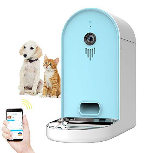 Voerbak Voor Huisdieren Automatische Wifi Honden / Katten Smart Camera Feeder - 6.5Lbs App-Voederautomaat Met Grote Capaciteit Met Wifi, Portion Control, Spraakopname, Programmeerbare Timer,Light blue + white