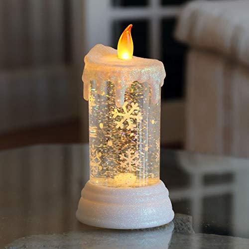 B-Creative Adorno LED que cambia de color con purpurina para agua, decoración de Navidad (vela NOWFLAKE)