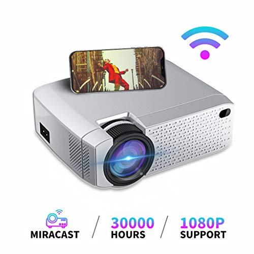 Mini proyector, Proyector portátil LED WiFi Inalámbrico Misma Pantalla Cine en casa con USB / TF Compatible con teléfono Inteligente, Tableta, Reproductor de Juegos, Prechen