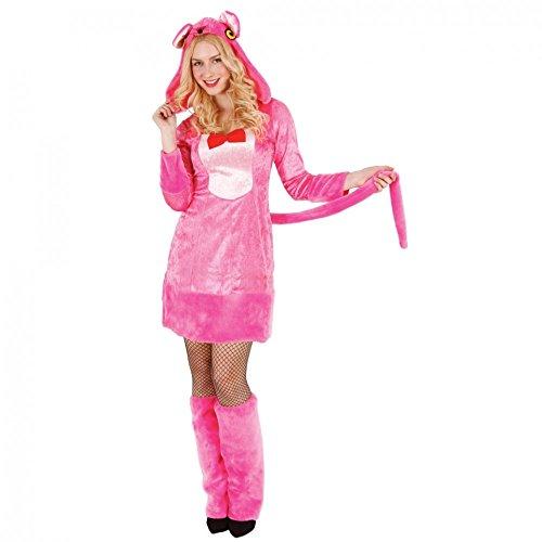 Mortino Kostüm Panther Gr. S- XL Kleid rosa Fußstulpen Tierkostüm pink Karneval (L)