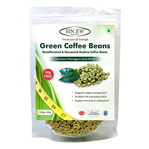 Sinew Nutrition Green Coffee Beans 200g+ 50g Free, Green Coffee Beans for Weight Loss
