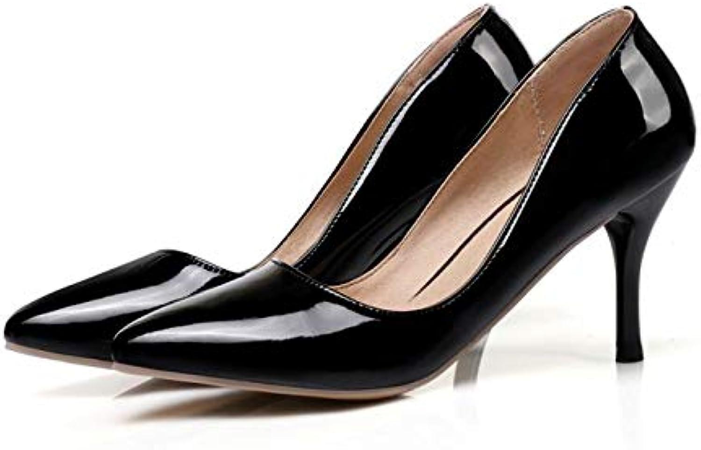 MENGLTX High Heels Sandalen Plus Größe 30-48 Spitz Frauen Pumpt Plattform High Heels Damen Hochzeit Schuhe Frau K3-1 6,5 Schwarz