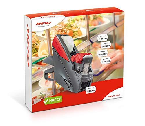Meto HACCP Kit, Profi Handauszeichner Lebensmittel/Food 30004658 (2-zeilig, 20-stellig für 26 x 16 mm Etiketten, sofort einsatzbereit) 1 Preisauszeichner Set, grau-rot