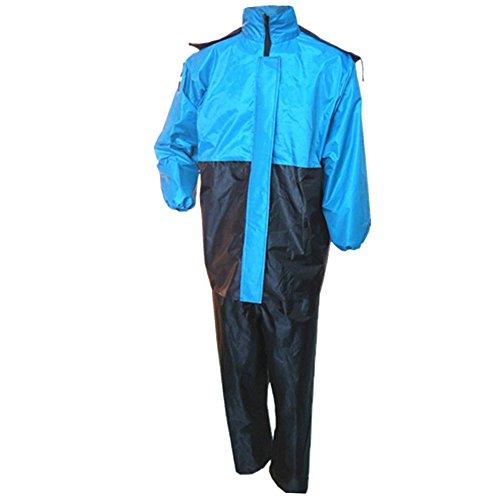 KINDOYO 2 Pièces Couple Moto Combinaison de Pluie Imperméable Ensemble Veste et Pantalon pour Femme et Homme Randonnée Camping, Bleu, Taille Unique