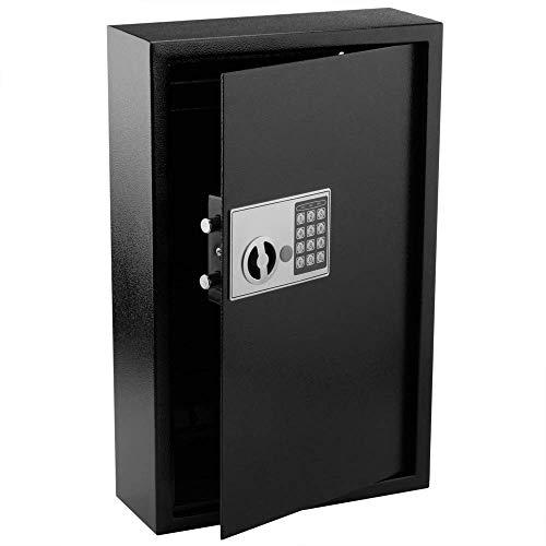 PrimeMatik - Armario de Llaves con 60 Ganchos. Caja Fuerte con código electrónico 35x13x55cm Negro