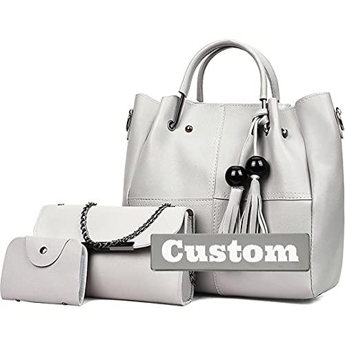 Personalisierte Namensreise für Frauen mit Reißverschluss-Tragetasche Leder Tasche Set 3-teilig, grau, Einheitsgröße,