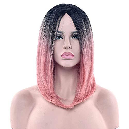 Zwart - roze - pruik lang steil haar bob - bi - hergroei - vermomming - carnaval - halloween - kleurverloop - synthetisch - 34 cm - bob - vrouw - kerst verjaardag cadeau idee