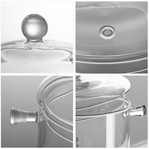 両手鍋耐熱ガラスONEISALLガラス鍋2000ML直火対応透明シチュー鍋カレー鍋シチューポットおしゃれおおらか鍋(2000ml)