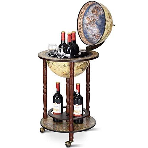 COSTWAY Mappamondo Bar con Ruote Mobili, Porta Liquori, con Stile retrò Vintage, 88 x 45 x 45cm (Beige)