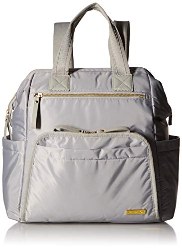 Skip Hop Diaper Bag Backpack: Mainframe Large Capacity Wide Open Structure with Changing Pad & Stroller Attachement, Cement