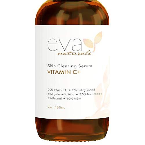 Eva Naturals Vitamin C Serum Plus 2% Retinol, 3.5% Niacinamide, 5% Hyaluronic Acid, 2% Salicylic Acid, 10% MSM, 20% Vitamin C - Skin Clearing Serum - Anti-Aging Skin Repair, Face Serum (2 oz)