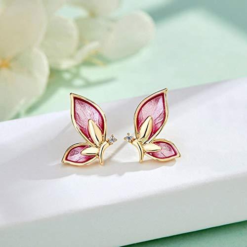 SALAN Vintage Fairy Tale Crystal Butterfly Stud Earrings For Women Cute Gold Color Oil Statement Earrings Party Wedding Bridal Jewelry