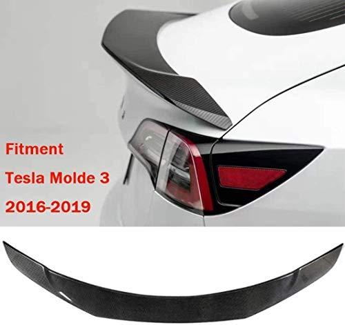 SKNB Passend Für Tesla Model 3 2017-2020 Carbonfaser-Material Heckspoiler, Stanzerfreier 3M-Kleber Und Einfache Installation