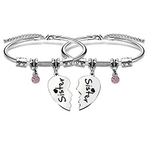 Juego de 2 pulseras de corazón roto para hermanas, con cristales, joyería para mujer, regalo para hermanas y amigas
