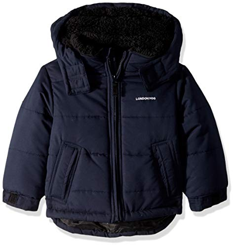 LONDON FOG Boys' Toddler Warm Winter Jacket with Cozy Lining, Super Navy, 3T