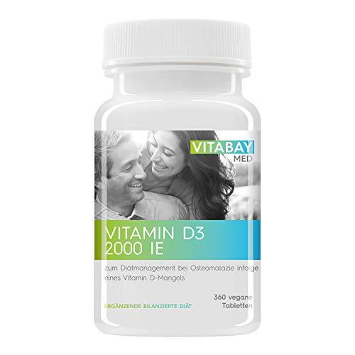 Vitamin D3 Vitabay 2000 I.E. - zum Diätmanagement bei Osteomalazie - 360 Vegane Tabletten