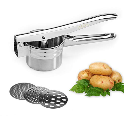 LEECHU Potato Ricer Stainless Steel and Masher Potato Ricer Press with 3 Interchangeable Food Strainer Fine Medium Coarse for Riced Cauliflower Potatoes Fruits Vegetables Dishwasher Safe