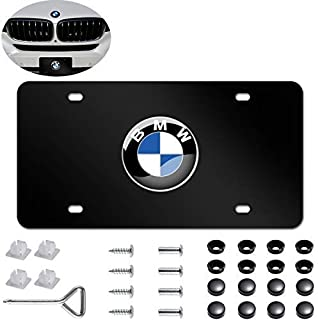 Heavy Type 3D Stainless Steel License Plate Cover for BMW,Protect and Personalize Your BMW License Plate Frame (Black)
