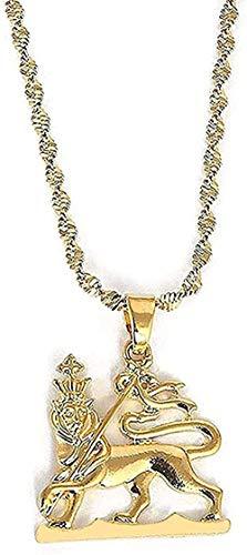 Collar Collar de mujer Collar Colgante de león de color dorado Collar Mapa de Etiopía Joyería del rey león Regalo para mujeres Hombres Regalo Joyería de boda Regalo para mujeres Hombres Regalo
