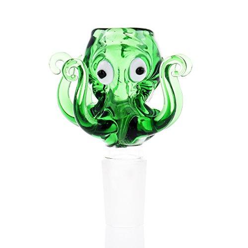 UUYSU - Test del bong, in vetro borosilicato, motivo polpo, dimensioni piccole 14,5 cm, filtro a carbone attivo, pre-raffreddamento, , Vetro, Verde, Green 14.5mm