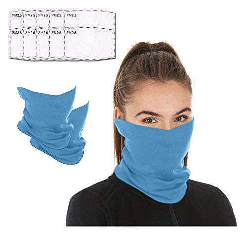 Face mask reusable with 10pcs Carbon Filters, Scarf Mask Neck Gaiter face mask, Washable Bandana face mask for Men Women (Blue)
