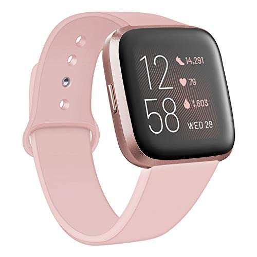 Deilin Armband für Fitbit Versa/Fitbit Versa Lite für Damen und Herren, Silikon Sport Armband Weiches Verstellbares Armband für Fit bit Versa Smartwatch (Rosa, S)