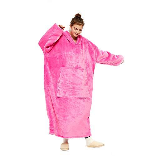 Manta con capucha para acurrucar, manta larga de gran tamaño con forro polar sherpa suave, bolsillos, túnica gruesa gigante con capucha, manta para televisión, pijama para adultos y hombres (Rosa)