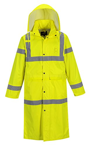 Portwest Hi-Vis Classic Raincoat 48 Viz Safety Visability Work Rain Jacket ANSI 3, Yellow, X-Large