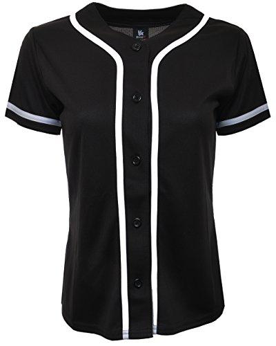 YoungLA Women Baseball Jersey Plain Button Down Shirt Tee 420 Black Medium