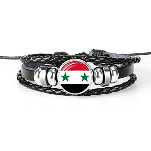 Minyose 2 Uds.Pulsera De Brazalete con Bandera De Siria Y América Hecha A Mano para Hombres Y Mujeres, Pulsera De Cuero con Cabujón De Cristal, Regalo De Joyería