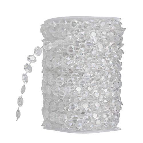 winomo 10m Kristalle Glas Perlen, irisierend kristall Diamant Girlande Acryl Perlen für DIY Hochzeit Party Dekoration (transparent)