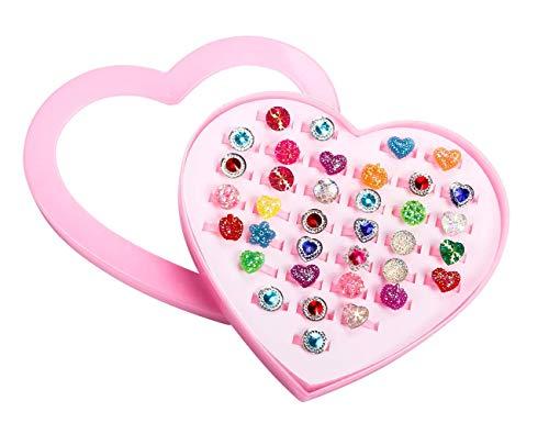 36PCS 작은 소녀를 조절 모조 다이아몬드 반지 상자 어린 소녀의 패션 플레이 척 및 드레스 반지는 장난감 아이들을위한 아이들 아이들을 보석 반지 세트 하트 모양으로 디스플레이 케이스
