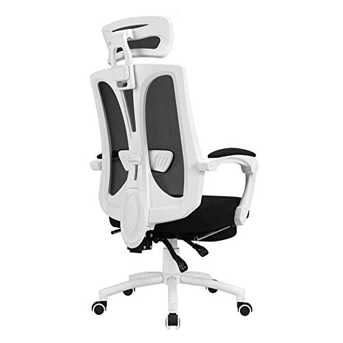 N/Z Daily Equipment Chairs Ergonomic Reclines Office with Adjustable Lumbar Support and Rollerblade Wheels High Back with Breathable Mesh Adjustable Head Rests (Color : White)