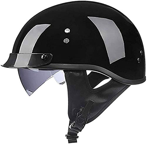 Casco Moto Jet Cascos Abiertos ECE Homologado Custom Scooter Para Mujer Hombre Adultos Con Visera Half-Helmehelmet C,L