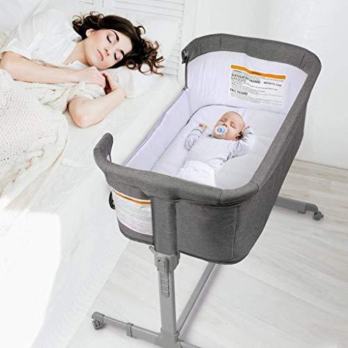 3 in 1 Baby Bassinet, Bedside Sleeper, & Playpen, Easy Folding Portable Crib (Grey)- KoolaBaby