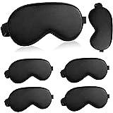 Eye Mask for Sleeping 6 pcs, Adjustable Strap Black Soft Sleep Eyemask for Women and Men (Black 6 Pcs Set A)