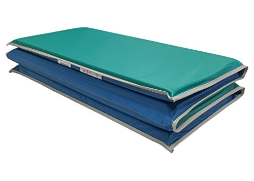 KinderMat, Heavy-Duty 1 Thick Rest Mat, 4-Section Rest Mat, 48 x 24 x 1, Blue/Teal with Grey Binding, Great for School, Daycare, Travel, and Home, Made in the USA