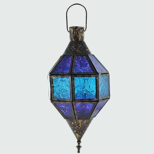 Prezents.com Lanterne en fer à suspendre style marocain antique LED bougie chauffe-plat avec verre coloré H24 cm