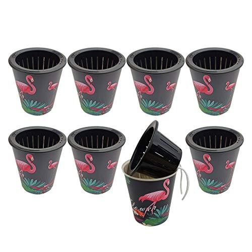 VANKOA Flamingo Selbstbewässernde Pflanzgefäße (8 Stück) Moderner dekorativer Blumentopf für alle Hauspflanzen Blumen