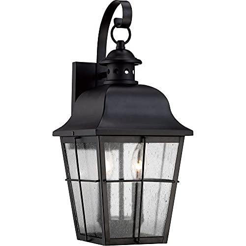 "Quoizel MHE8409K Millhouse Seedy Glass Outdoor Wall Lantern Wall Mount Lighting, 2-Light, 120 Watts, Mystic Black (19""H x 8""W)"