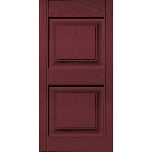 15 in. Vinyl Raised Panel Shutters in Wineberry - Set of 2 (14.75 in. W x 1 in. D x 46.75 in. H (9.06 lbs.))