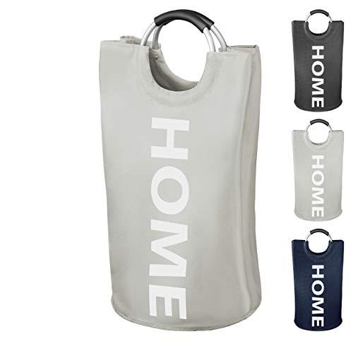 WELLENBORG Cesto para la ropa sucia Premium - [38x72 | 82 litros] - recolector de ropa repelente al agua - cesto para la ropa sucia plegable gris claro - hermosa bolsa para la ropa sucia en 3 colores