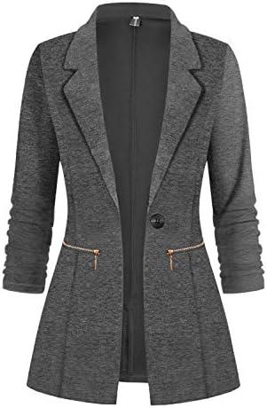 Genhoo Womens Long Sleeve Blazer Open Front Jacket Work Office Suit Blazer Coat Dark Grey XL product image