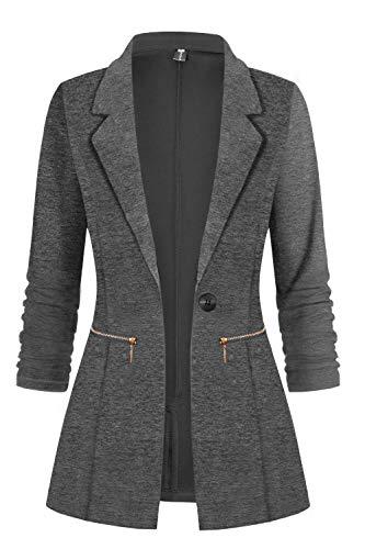 Genhoo Women's Casual Long Sleeve Fitted Knit Suit Jacket Work Office Blazer Petite Dark Grey S