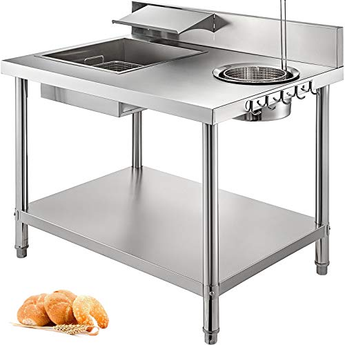 VBENLEM Breading Table Breader 39x27 Inch Stainless Steel Kitchen Fried Food Prep Table for Electric Deep Fryer Food Processing