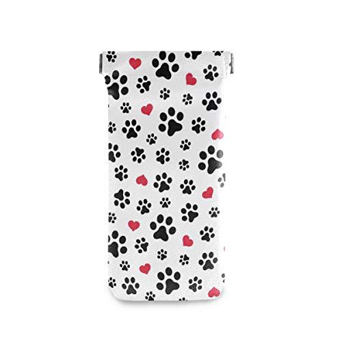 JUAMA Sonnenbrillenetui für Hunde und Katzen, mit Pfotenabdruck, weiches PU-Leder, für Damen und Herren